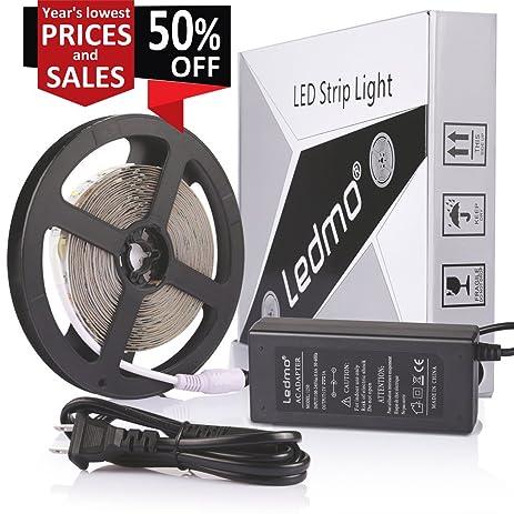 ledmo led strip lights kit white 6000k164ft