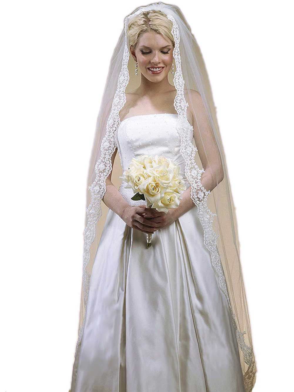 Floor Length Wedding Mantilla Veil with Lace