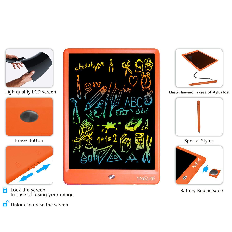 Mooedcoe LCD Tableta de Escritura 10 Pulgadas Pizarra Digital Electronica Niños Bloc de Notas (Naranja)