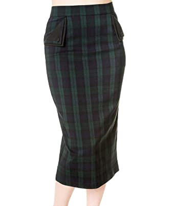 a6a314f48 Banned 50's Vintage Style Tartan Pencil Wiggle Skirt Green - UK 10 ...
