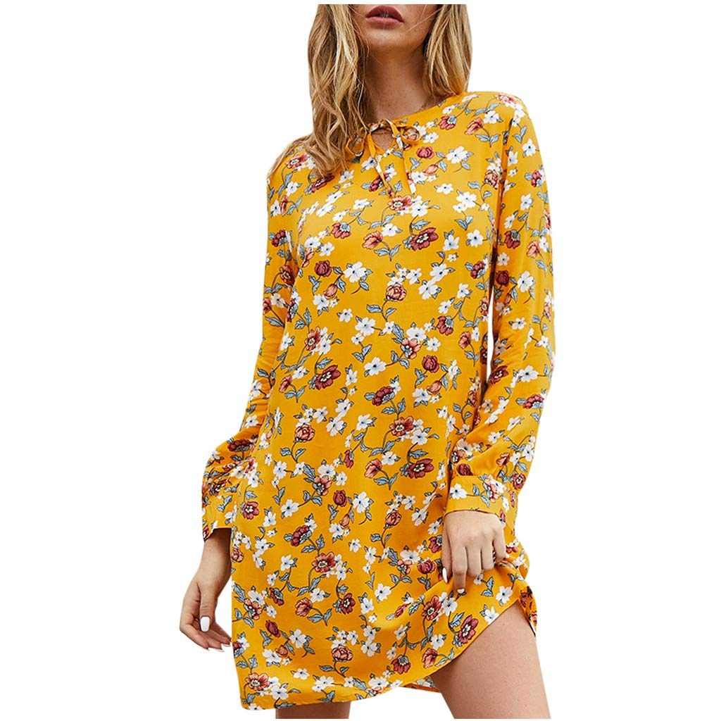 Shisay Women's O-Neck Long Sleeve Chain Floral Print Mini Dress Summer Casual Short Dresses Yellow