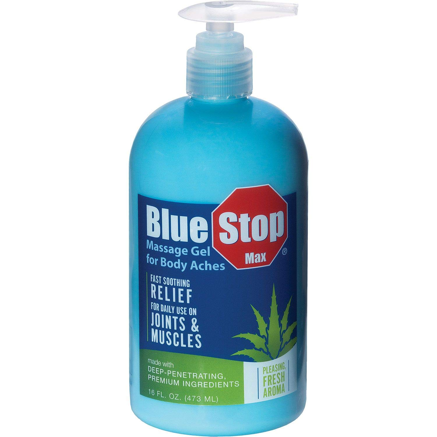 Blue Stop Max Massage Gel for Body Aches, Special 2 Pack ( 32 oz Total ) by Blue Stop Max