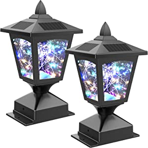 Solar Post Cap Light for Outdoor,Garden Black Post Top Light for Fence Deck,4x4 Waterproof Colorful LED String Fairy Light Modern Decorative Solar powered light for Pathway Patio Yard Landscape,2 Pack
