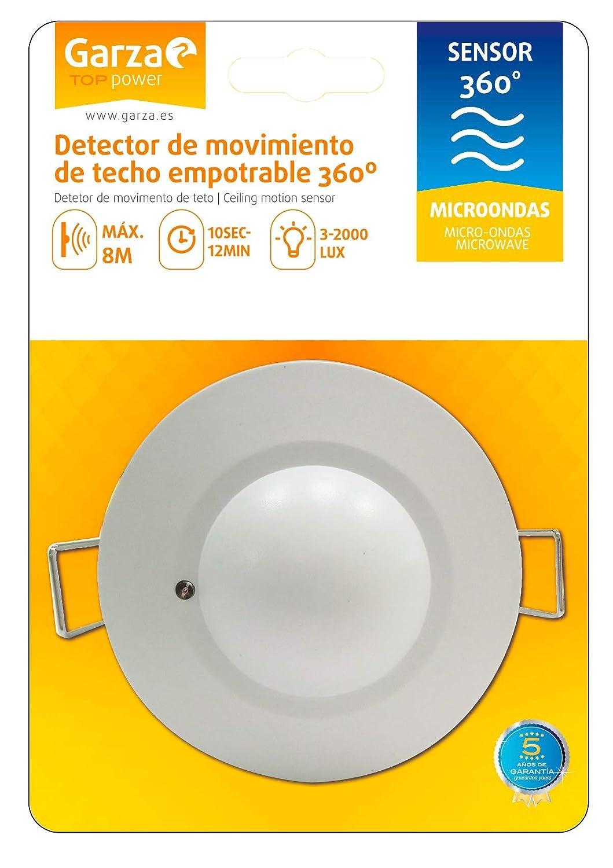Garza Power - Detector de Movimiento Microondas de Techo Empotrable, formato Mini, ángulo de detección 360º, color Blanco: Amazon.es: Bricolaje y ...