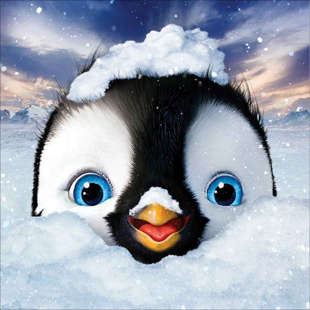 Cute Sweet Penguin in The Snow Diamond Painting Kits Full Drill,uBabamama DIY 5D Diamond Painting Kits Rhinestone Crystal Embroidery Pictures Cross Stitch Art Craft Decor for Home
