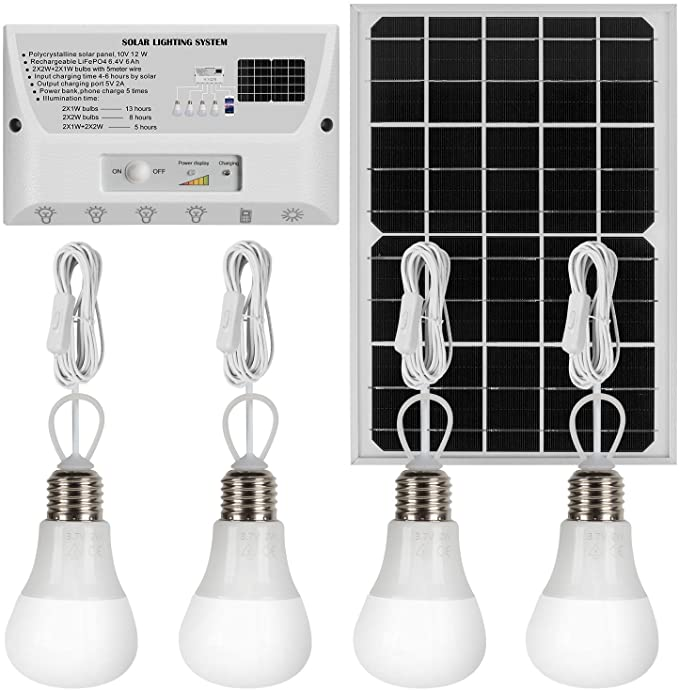 Roopure 20W Solar Panel Lighting Kit Solar Off Grid Lights with Remote Control Solar Powered Shed Lights 4 LED Light Bulb as Emergency Light Cellphone Charger//5V 1A Output Can Charge Power Bank