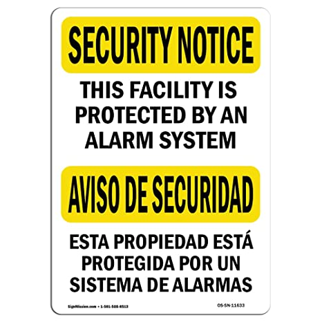 Amazon.com : OSHA Security Notice Sign - Protected by Alarm ...