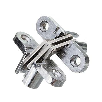 Bisagra oculta - SODIAL(R)2 piezas de bisagra oculta de acero inoxidable invisible bisagras ocultas del barril de plata caja de madera