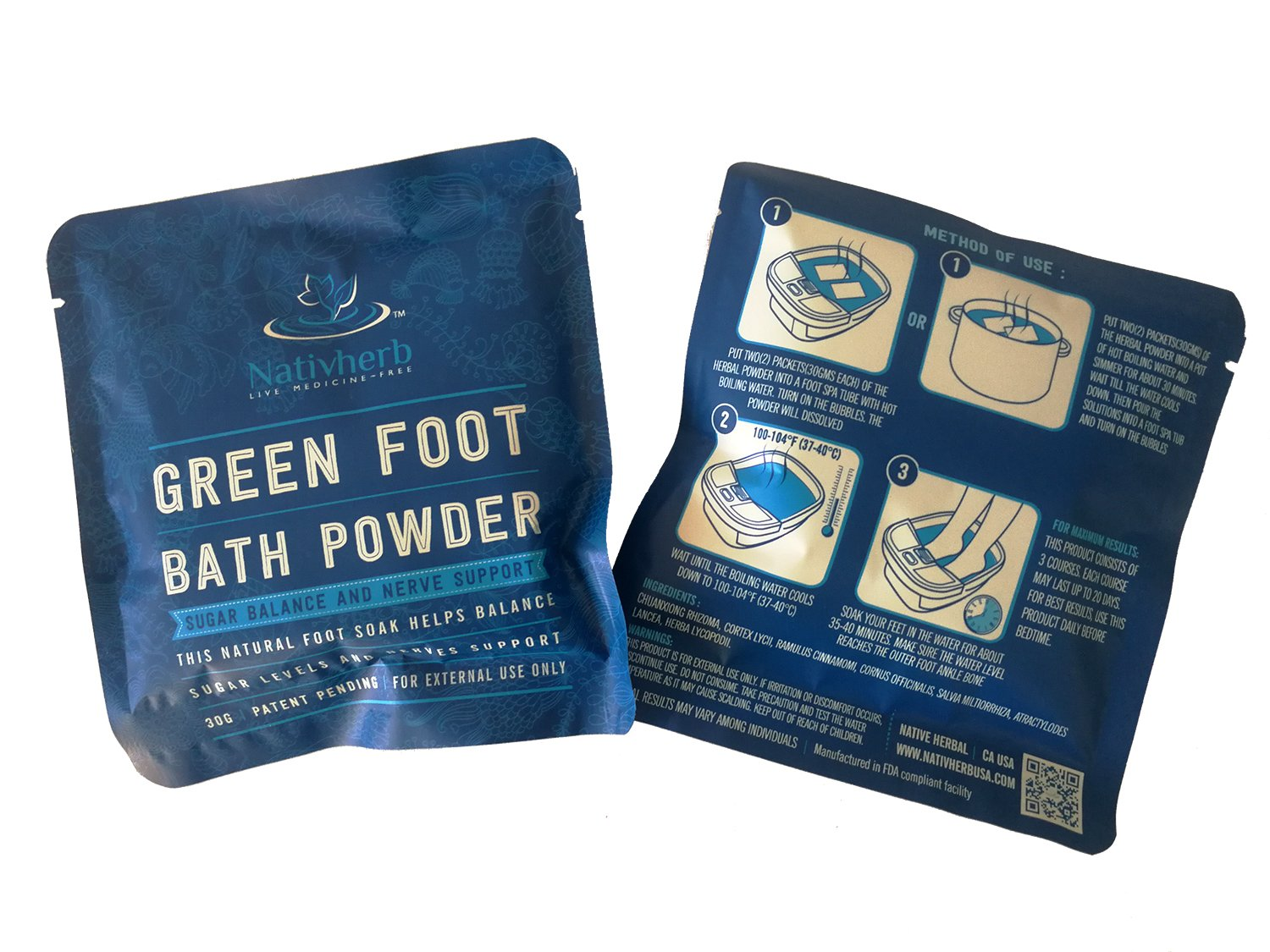 Green Foot bath powder for Sugar Balance and Nerve Support, Healthy Life Style,Natural Raw Herb Super Food Supplement … (1) by Native Herbal (Image #1)