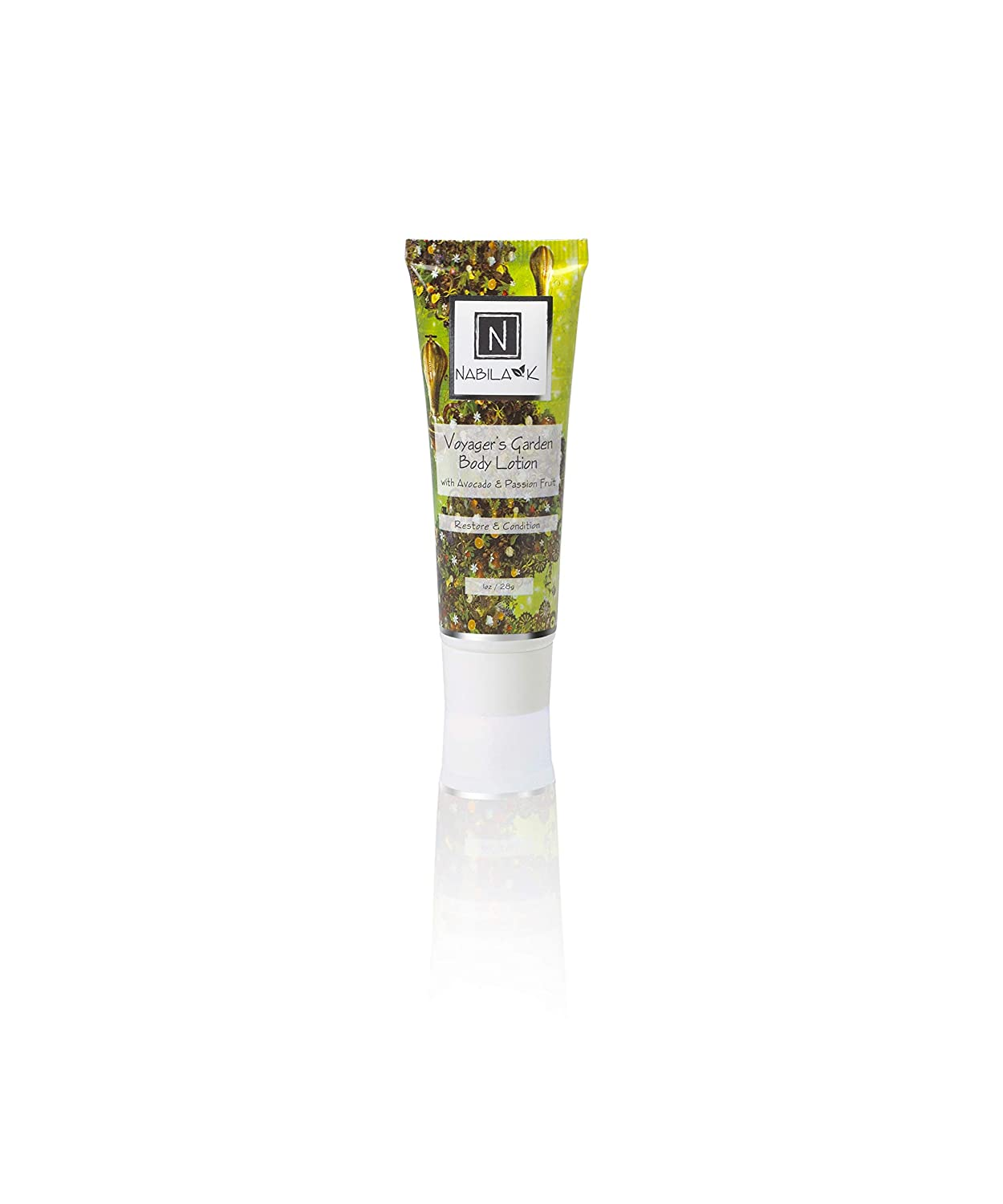 N Nabila K Voyager's Garden Body Lotion for Dry Skin, with Avocado & Passion Fruit, Restore & Condition, Travel Size, 1 oz.
