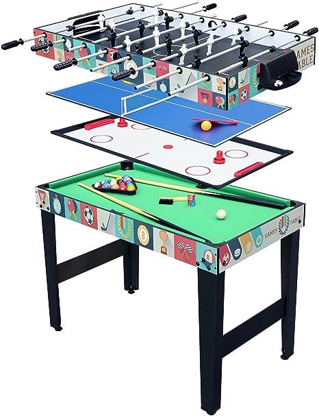 hj Mesa multijuegos 4 en 1, incluye mesa de Billar/Mesa de ping ...