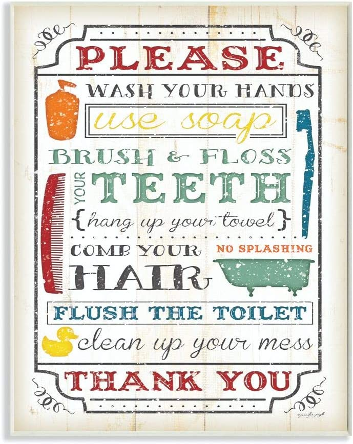Stupell Home Décor Wash Your Hands Typography Multicolored Bathroom Wall Plaque, 10 x 0.5 x 15, Proudly Made in USA