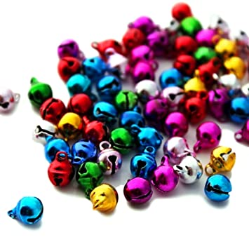 9x8mm 5 Colors Houlife Aluminum Christmas Jingle Bells Small Bells Loose Color Beads Charms for Festival Decoration DIY Craft Jewelry Making Findings Approx 300pcs