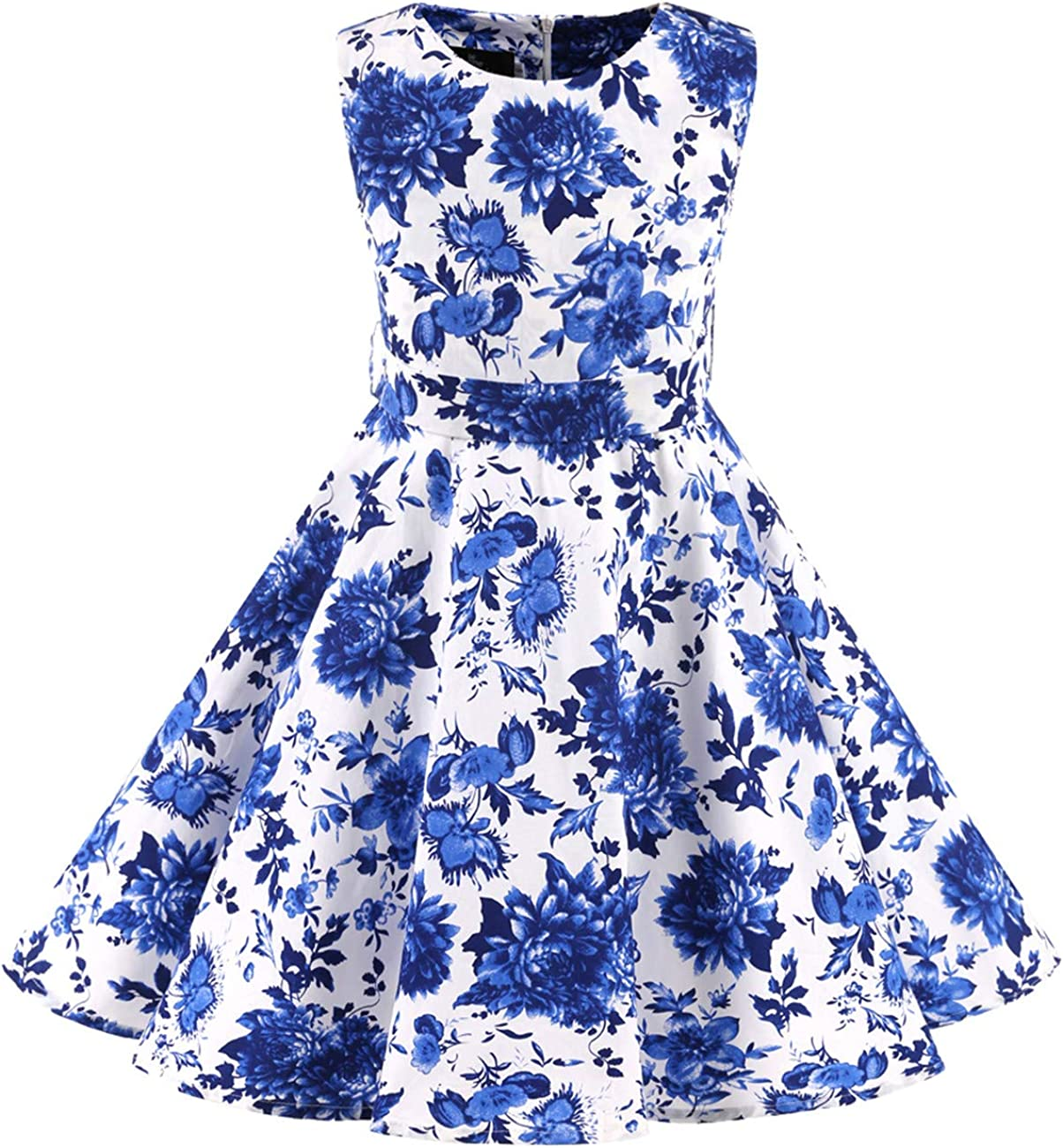 Girls Casual Cute O-Neck Sleeveless Patchwork Swing Hem Dress EA9