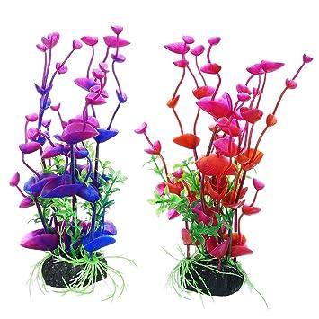 UEETEK 2 PC acuario plástico plantas decoraciones artificiales peces tanque decoraciones coloridas (morado + rojo): Amazon.es: Deportes y aire libre