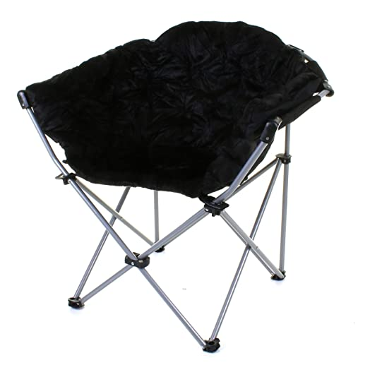 Marko Outdoor Deluxe Moon Chair Folding Camping Hiking Indoor Outdoor  Garden Fishing Foldable (Black)