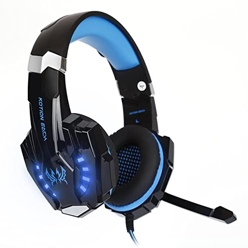 auricular con micrófono para gaming azul y negro