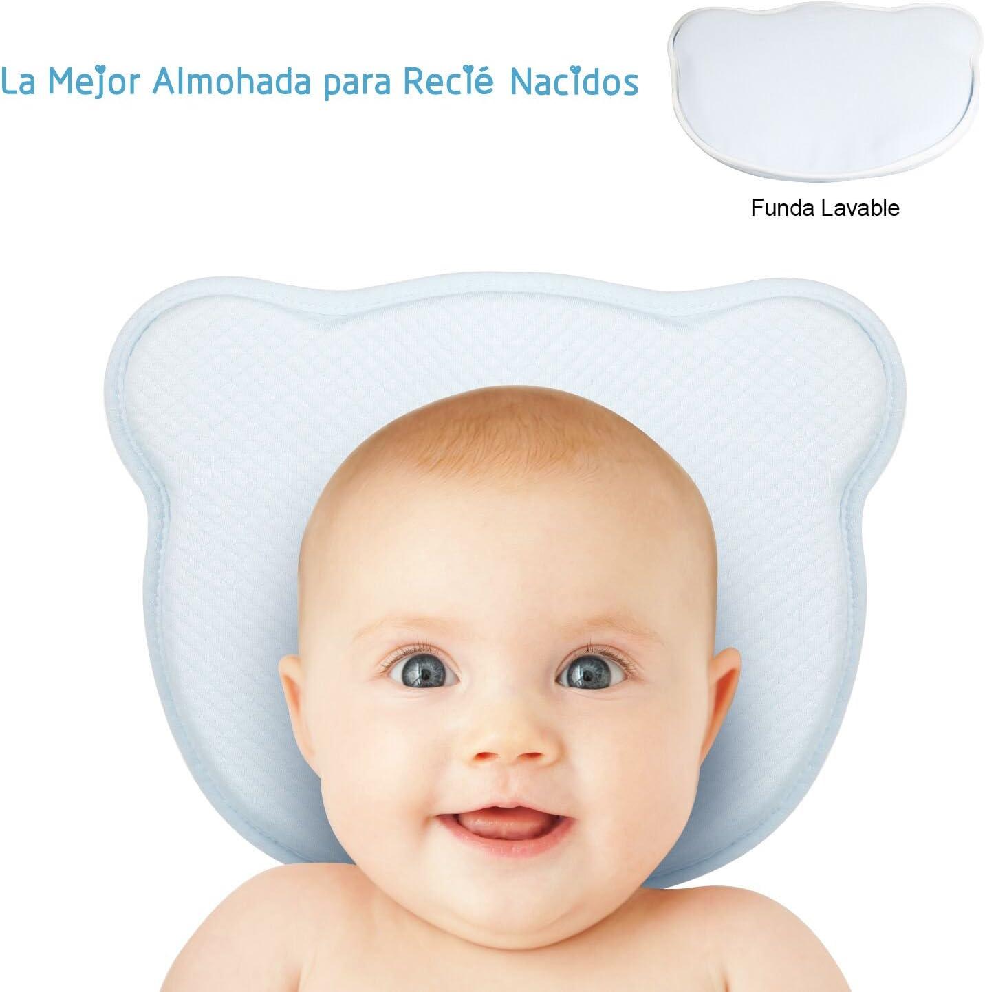 Almohada Bebé para Plagiocefalia con Funda Lavable Miacoco Almohada para Bebé Recien Nacido 0~12 Meses paraPrevenir la Plagiocefalia y Cabeza Plana Almohada Ortopédica para Bebés