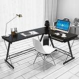 Dland Mesa ordenador Gran mesa de esquina Moderna Escritorio para oficina con Teclado, Negro