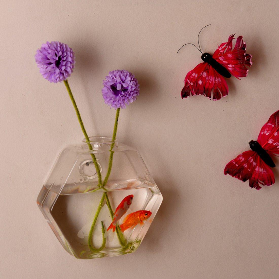 Creative Fish Bowls Hanging Vase Wall Decor Hanging Aquarium Decoration for Living Room Size 6.7 inch RuiyiF Fish Tank Wall Mounted