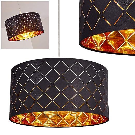 Iluminación de techo Meldal de tela en negro y oro, lámpara ...