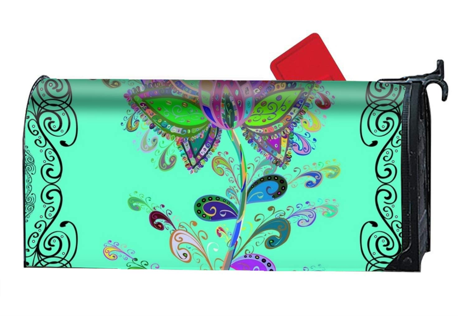 BABBY Mailbox Cover-Abstrace Colored Flora Magnetic Mail Box Cover-Cylinder Packaged by BABBY