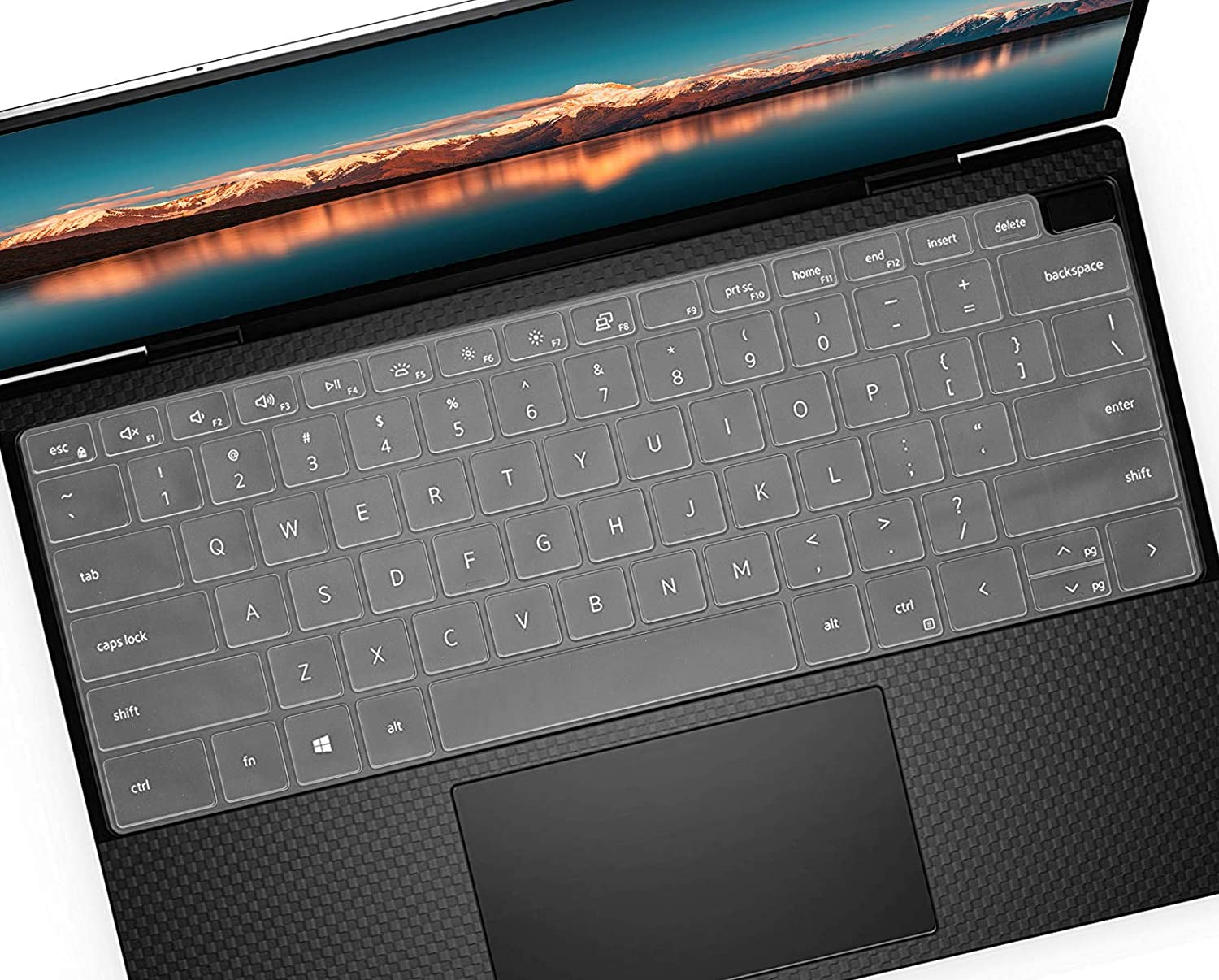 Keyboard Cover Skin for 2020 Dell XPS 13 9300 9310 13.4 inch Laptop, Dell XPS 13 9300 Accessories, Dell XPS 13 9310 2-in-1 Touch-Screen Laptop Keyboard Protective Skins- Clear