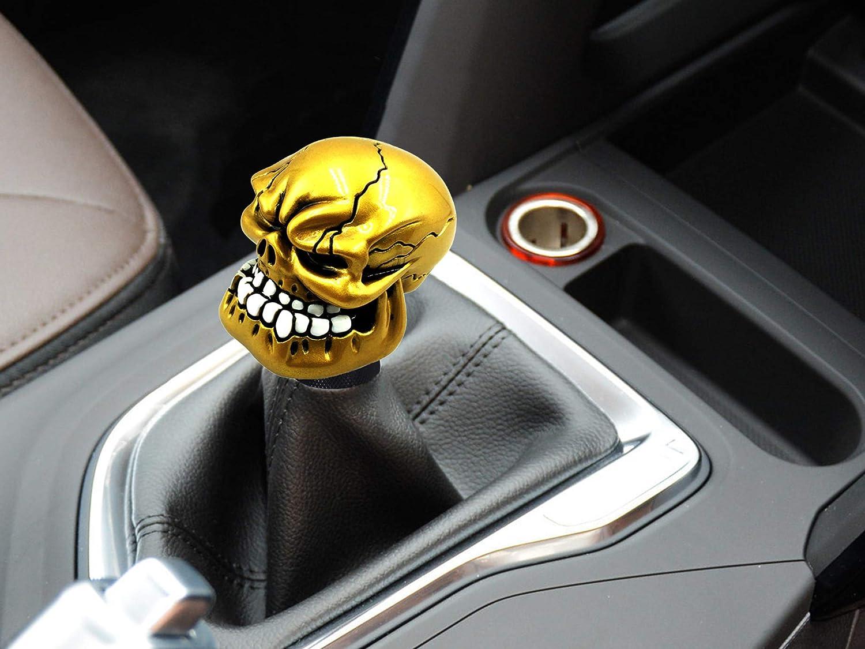 Bashineng Gear Stick Knob Skull Style Shift Head Universal Shifter Fit Most Manual Automatic Cars Gold