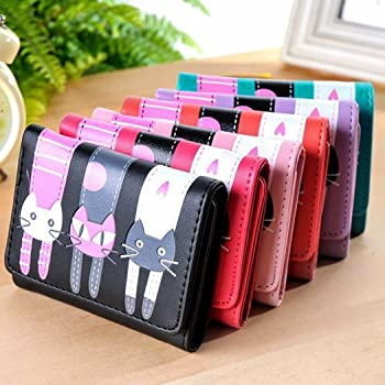 Women's Cartoon Cat Short Coin Purse Card Holder Lovely Pattern Girls Trifold Wallet