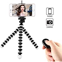Phone Tripod, Portable and Adjustable Camera Stand Holder with Wireless Remote and Universal Clip, Compatible with iPhone, Android Phone, Camera, Sports Camera GoPro (Medium tripod (M) - Black & White with mount (L)) (Phone Tripod+Selfie shutter)