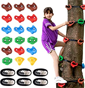 18 Ninja Tree Climbing Holds and 6 Sturdy Ratchet Straps for Kids Tree Climbing, Large Climbing Rocks for Outdoor Ninja Warrior Obstacle Course Training
