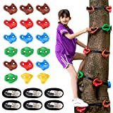 18 Ninja Tree Climbing Holds and 6 Sturdy Ratchet Straps for Kids Tree Climbing, Large Climbing Rocks for Outdoor Ninja Warri