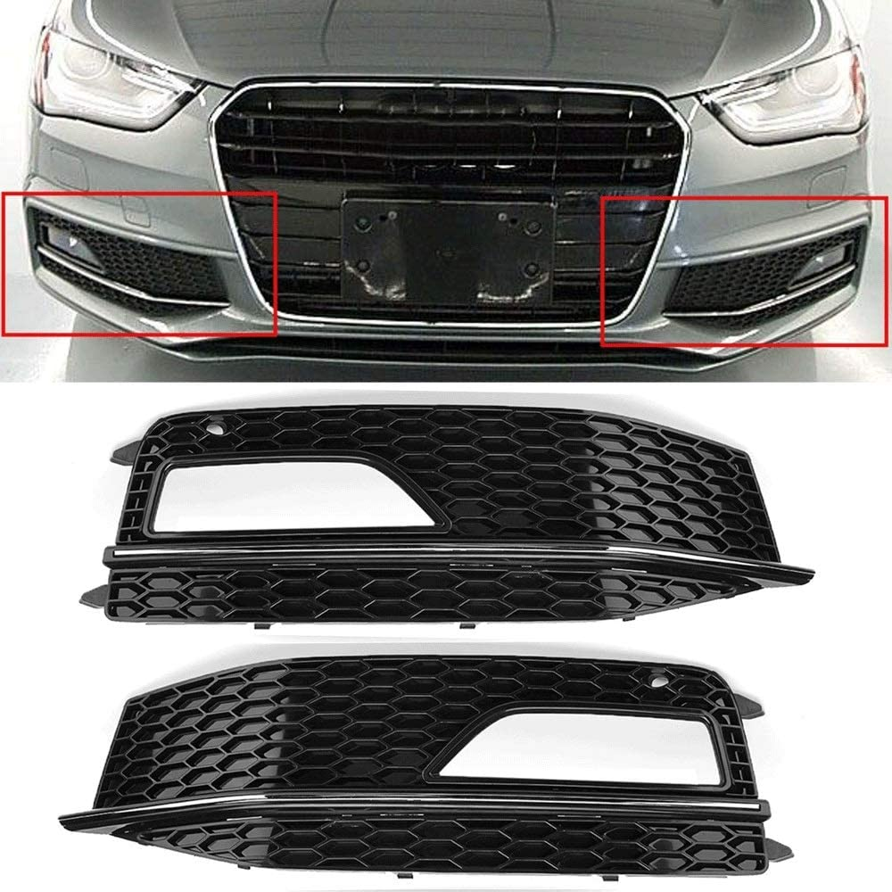 Color : Left ZDCGY Car Front Grille Mesh Front Bumper Fog Light Grill Grills Grill Cover Fit For Audi A4 B8 2012-2015 S4 S-Line Facelift Auto Parts