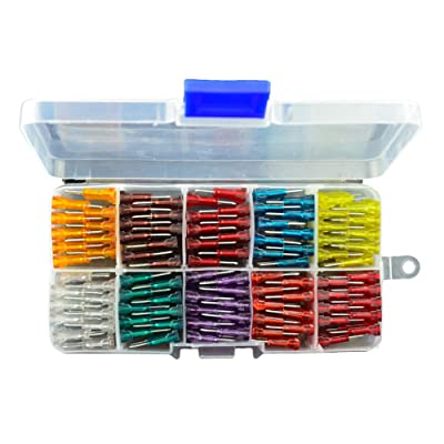 AHL 100pcs Auto Motorcycle Car Boat Truck Blade Fuse Box Assortment 5A 7.5A 10A 15A 20A 25A 30A 35A 40A 50A: Automotive