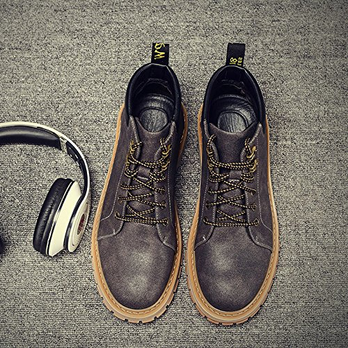 HL-PYL-Martin Stivali Stivali maschio Ritorno alla antica testa alta scarpe in pelle uomo stivali,42,grigio