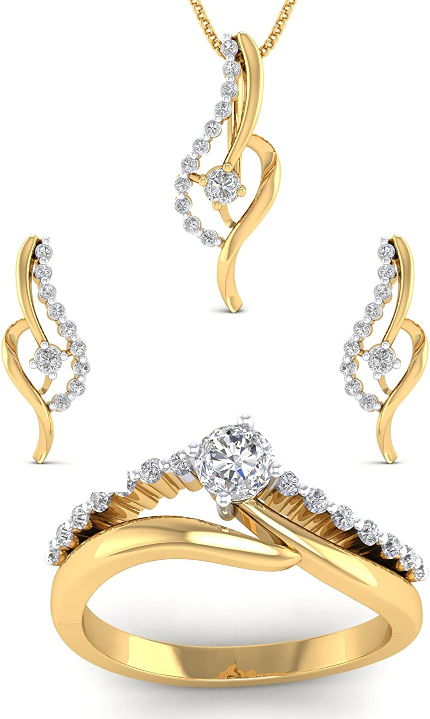 Ring SwaraEcom 14K Yellow Gold Plated Round AAA CZ Twist Earrings Pendant Jewelry Set for Women Thanksgiving Day