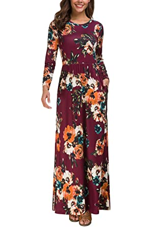 2d828d45a5f Zattcas Long Sleeve Long Dresses for Women Dresses Long Floral Maxi Dresses  for Women (Small