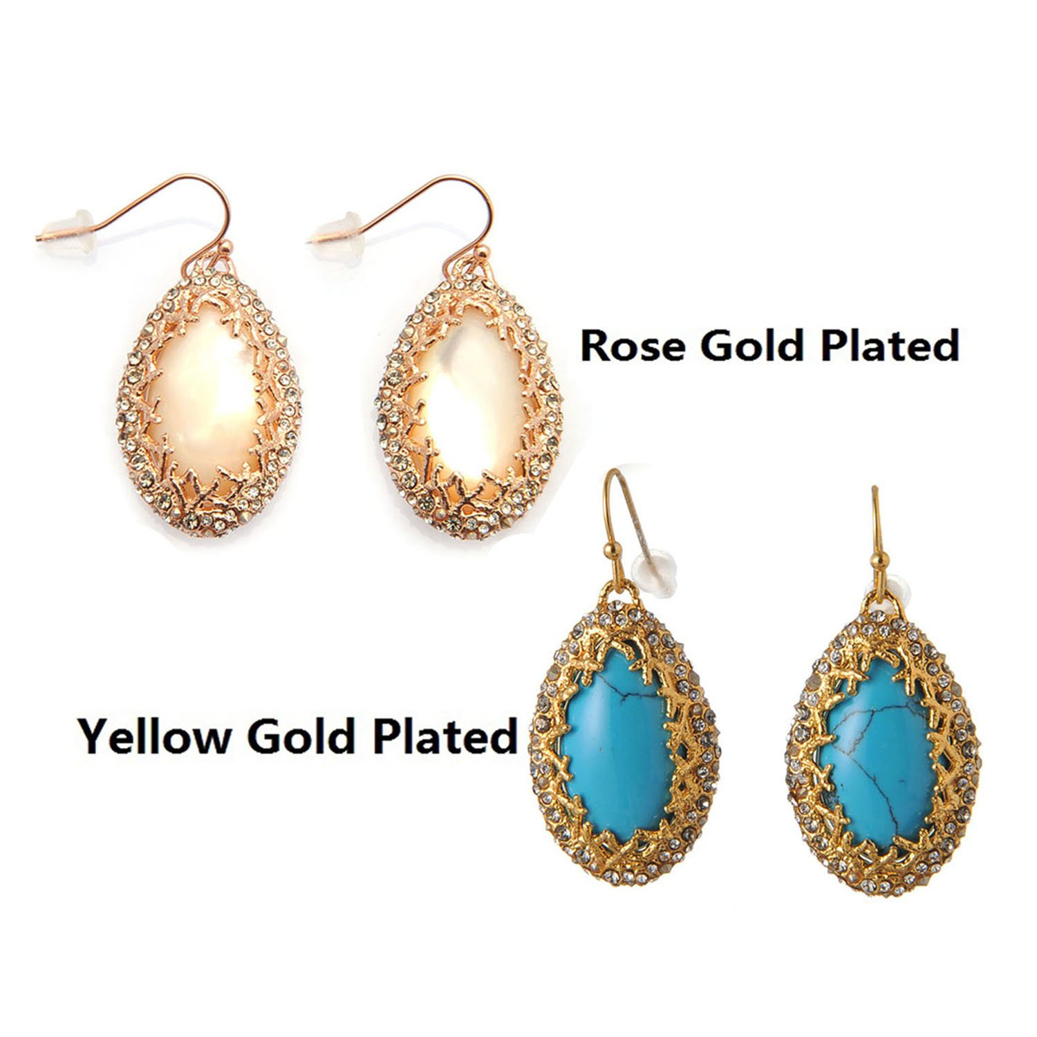 De Buman 18k Gold Plated Turquoise or Rose Gold Plated Mother-of-Pearl Earrings