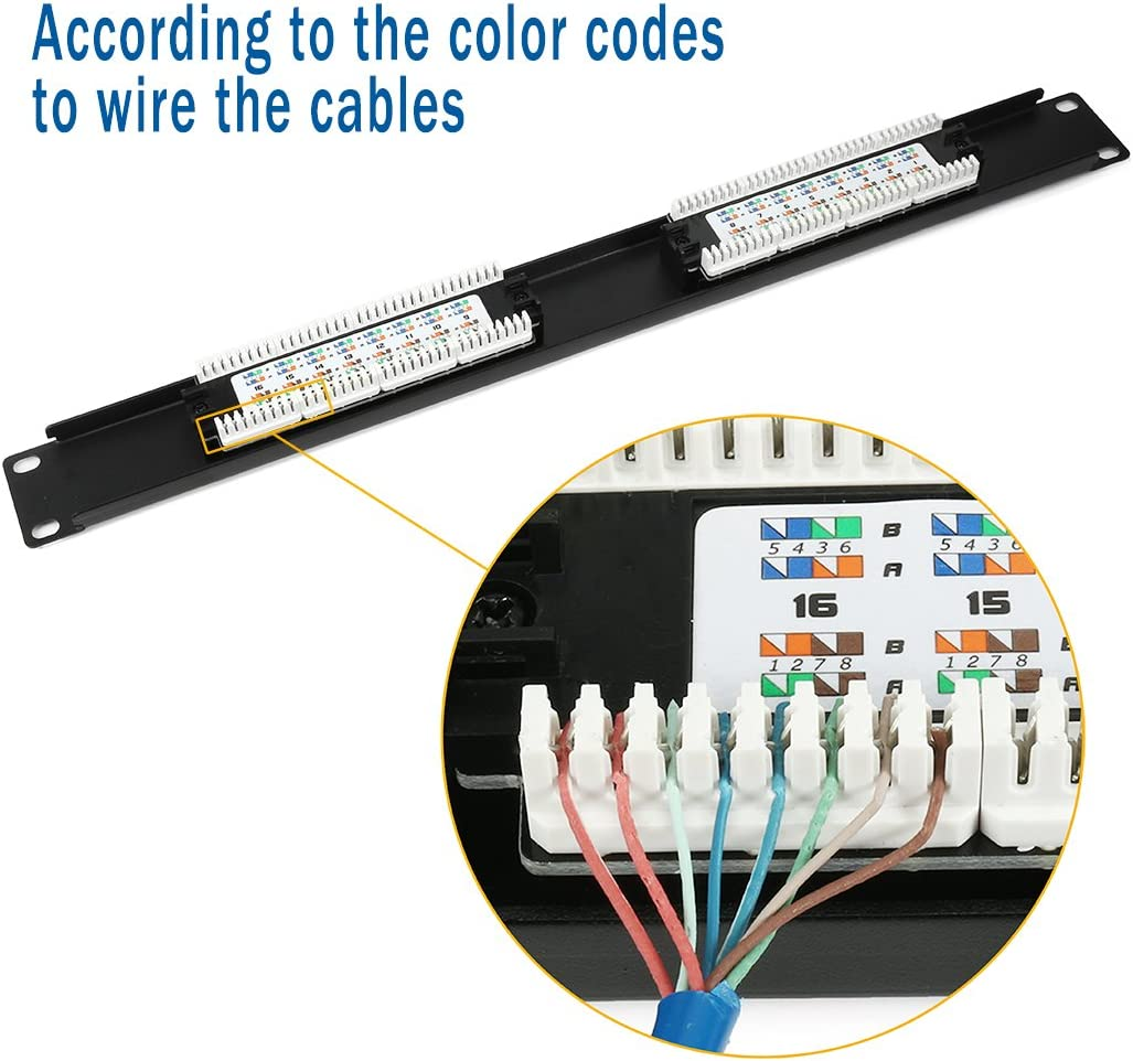 568A//B Compatible UTP Unsheilded uxcell 19 Inch 110 Type 24-Port Cat6 Patch Panel