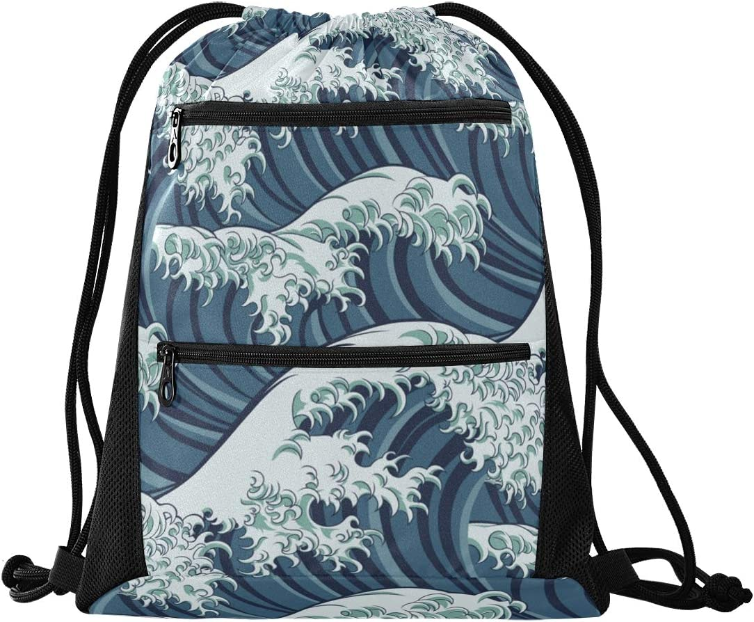 Drawstring Bag Japanese Great Wave Lightweight Sport Gym Sackpack for Yoga Gym Hiking Travel Beach Swimming with Zipper Mesh Pockets