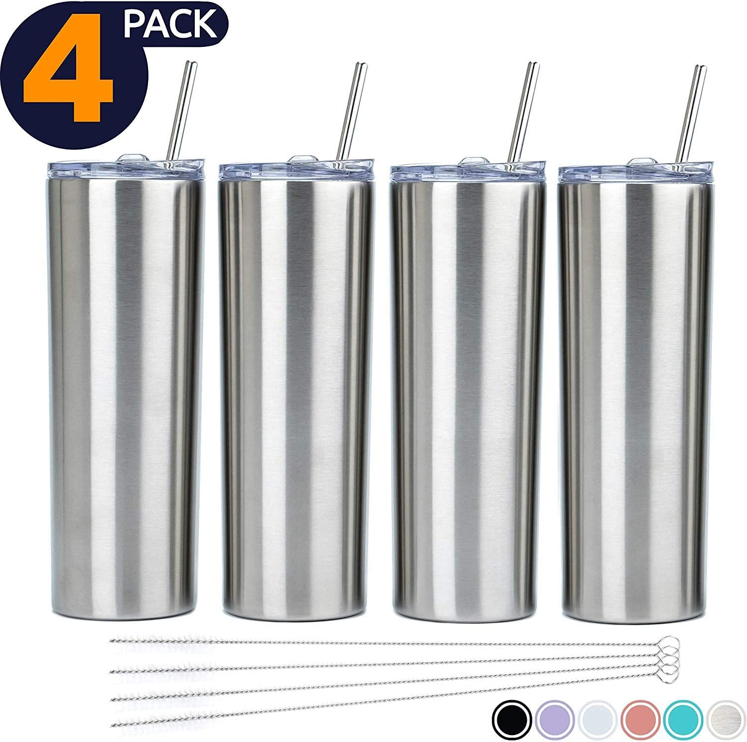 SKINNY TUMBLERS (4 pack) 20oz Stainless Steel Double Wall Insulated Tumblers with Lids and Straws   -Wall Insulated Mug Iced Coffee Cup Travel Tumbler Reusable Water Bottle for Tea, Smoothies (Silver)