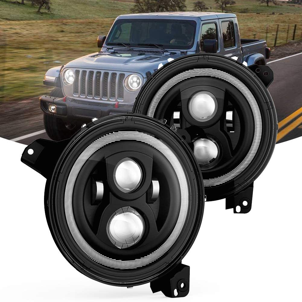 A/&UTV PRO 9 Inch Halo Headlights with DRL Adjustable Screw Compatiable with Jeep Wrangler JL Gladiator JT 2018-2020 Jeep Wrangler Gladiator LED Headlights