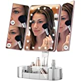 Makeup Vanity Mirror with Lights and Bluetooth - Tri-Fold Makeup Mirror with Magnification (2x/3x/10x), Lighted Mirror…