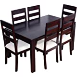 Ringabell Desire Six Seater Solid Wood Dining Table (Mahogany Finish)