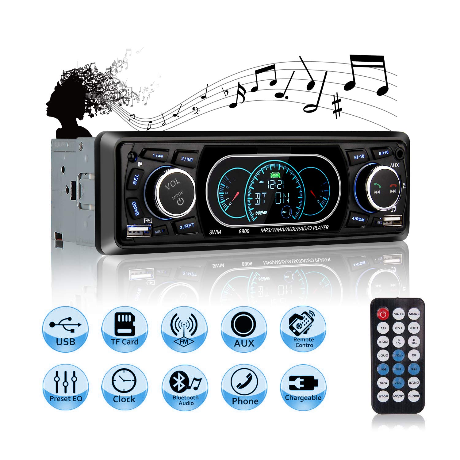 Mekuula Car Stereo Receiver Single DIN with Bluetooth MP3 Player Audio Receiver 4 x 60W with Remote Control Support Hands-Free Call USB SD FM AUX DC12V for Installing at Center Console Car SUV