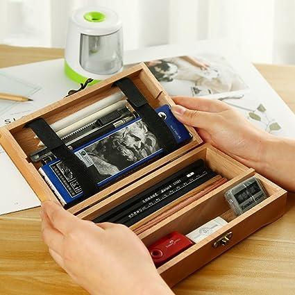 Whchiy Retro Caja de madera con bisagras, multifunción, soporte para lápices, rectangular, herramienta de arte, suministros de almacenamiento, estuche: Amazon.es: Oficina y papelería