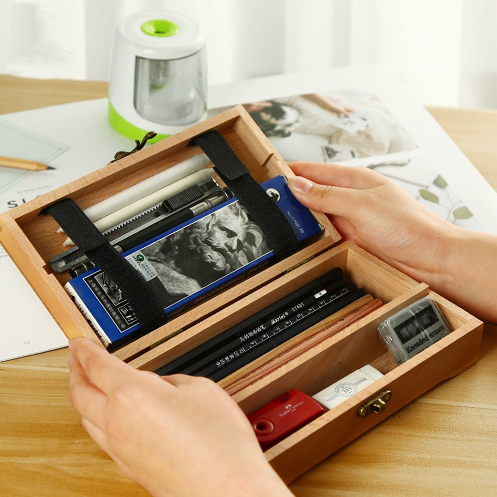 Amazon.com: Frjjthchy Retro Wood Hinged Box Multifunction ...