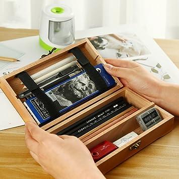 Whchiy Retro Caja de madera con bisagras, multifunción, soporte para lápices, rectangular, herramienta de arte, suministros de almacenamiento, estuche