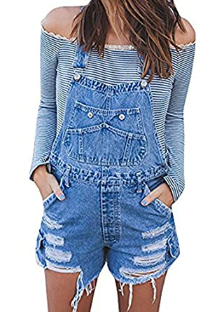 3aad3781de Image Unavailable. Image not available for. Color  Jeanewpole1 Womens  Classic Blue Bib Short Overalls Destroyed Ripped Denim Jean Shortalls