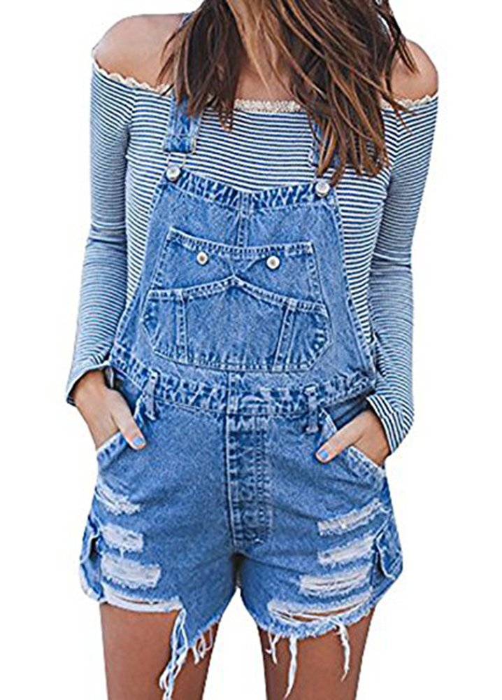 7a4524afe35 Women s Classic Destroyed Ripped Denim Short Overalls - Denim Fit